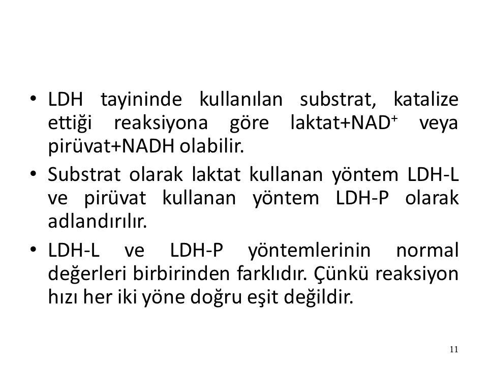 LDH tayininde kullanılan substrat, katalize ettiği reaksiyona göre laktat+NAD + veya pirüvat+NADH olabilir.
