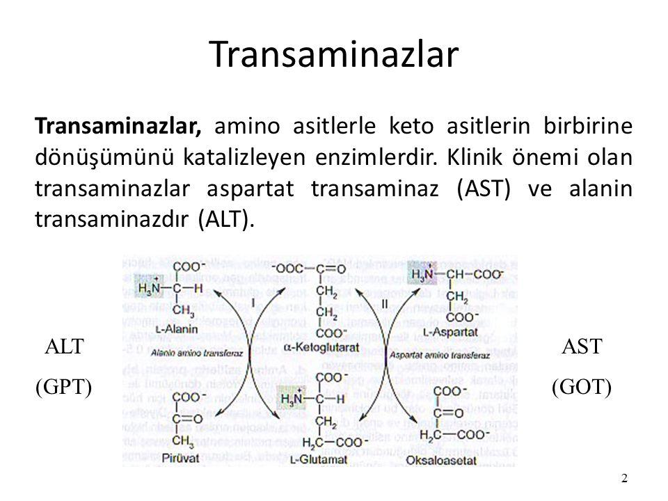 Transaminazlar 2 Transaminazlar, amino asitlerle keto asitlerin birbirine dönüşümünü katalizleyen enzimlerdir.