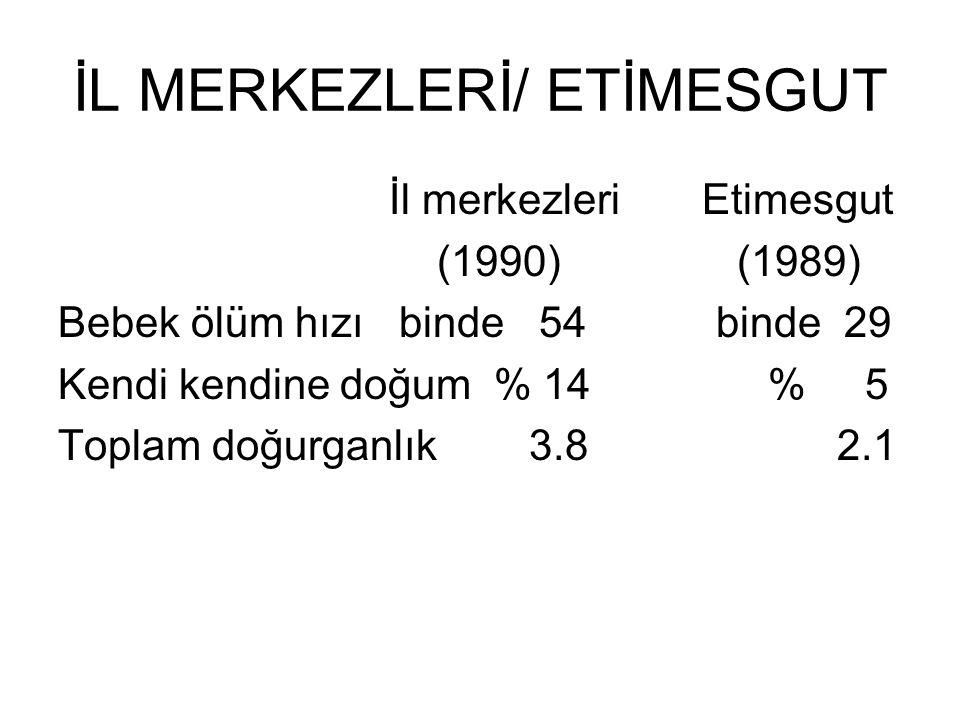 İL MERKEZLERİ/ ETİMESGUT İl merkezleri Etimesgut (1990) (1989) Bebek ölüm hızı binde 54 binde 29 Kendi kendine doğum % 14 % 5 Toplam doğurganlık 3.8 2