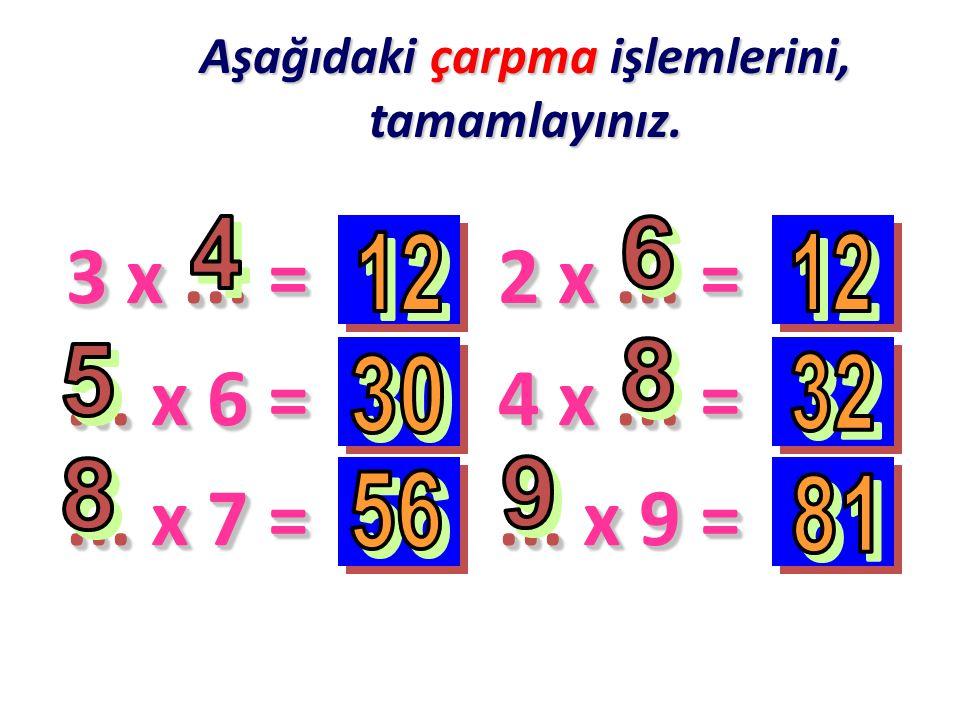 Aşağıdaki çarpma işlemlerini, tamamlayınız. 3 x... =... x 6 =... x 7 = 2 x... = 4 x... =... x 9 =