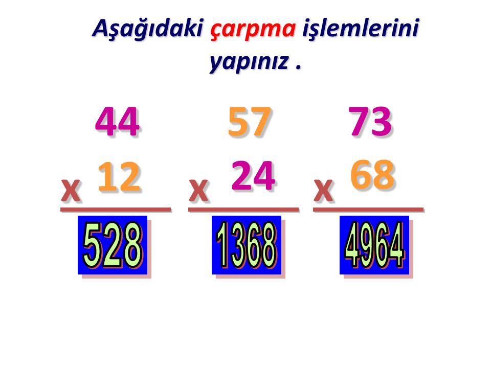 Aşağıdaki çarpma işlemlerinde bilinmeyen sayıları bulunuz. 34 2 xx3838xxxx33 162162 55