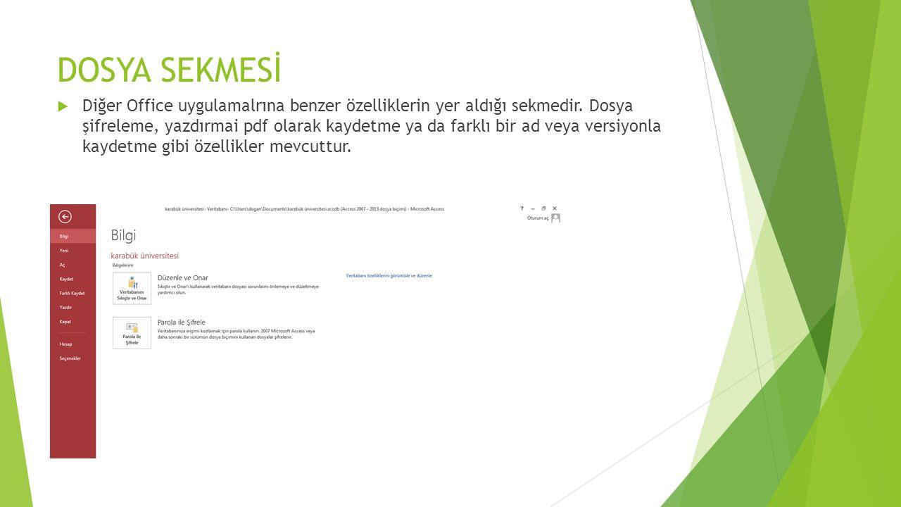 DOSYA SEKMESİ  Diğer Office uygulamalrına benzer özelliklerin yer aldığı sekmedir. Dosya şifreleme, yazdırmai pdf olarak kaydetme ya da farklı bir ad