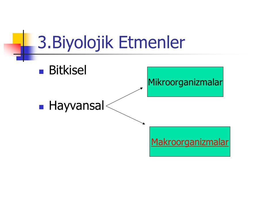 3.Biyolojik Etmenler Bitkisel Hayvansal Mikroorganizmalar Makroorganizmalar