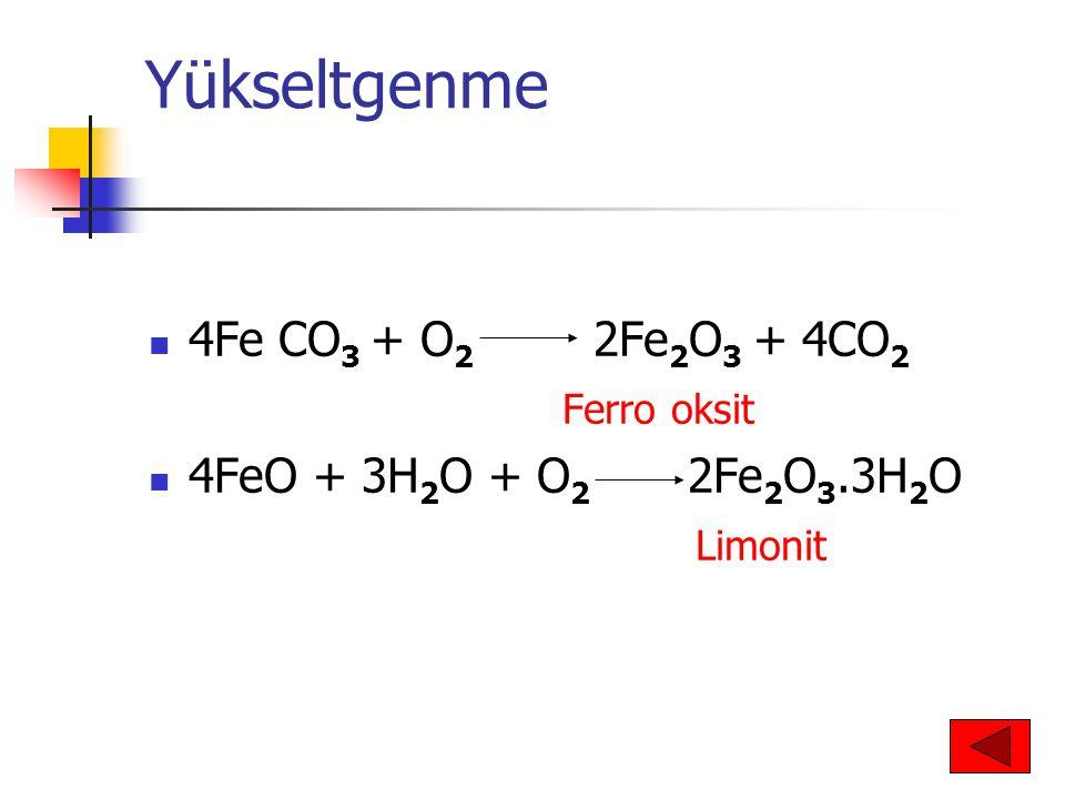 Yükseltgenme 4Fe CO 3 + O 2 2Fe 2 O 3 + 4CO 2 Ferro oksit 4FeO + 3H 2 O + O 2 2Fe 2 O 3.3H 2 O Limonit