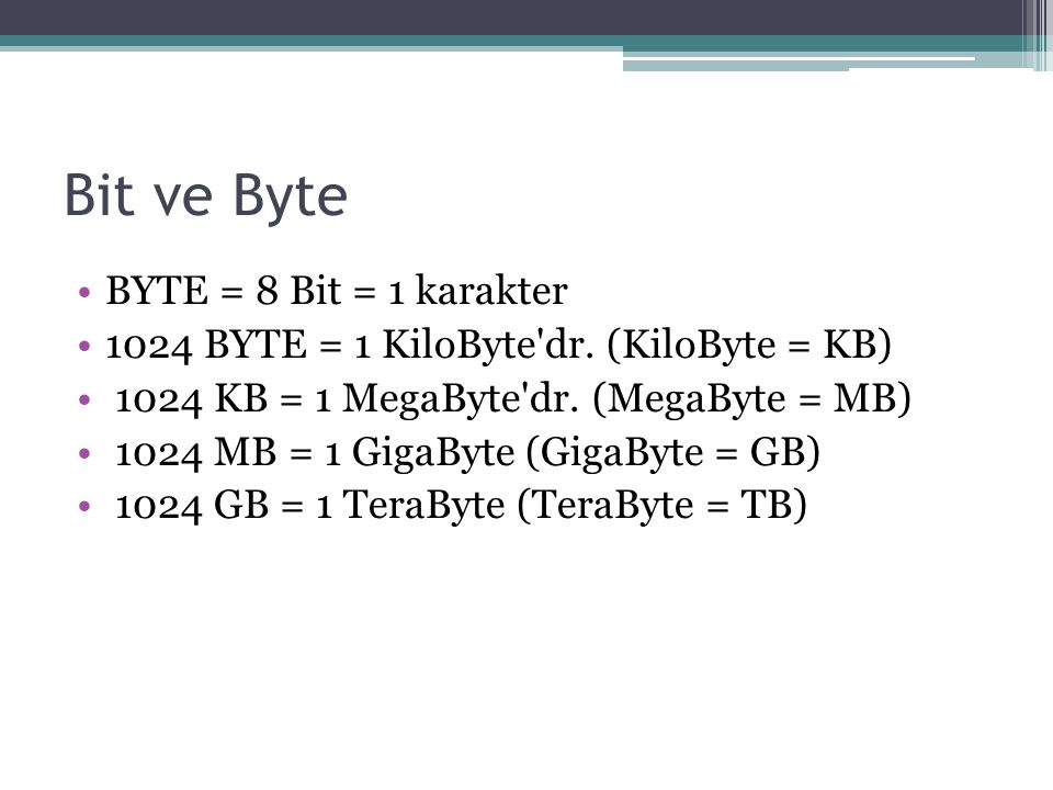 Bit ve Byte BYTE = 8 Bit = 1 karakter 1024 BYTE = 1 KiloByte dr.