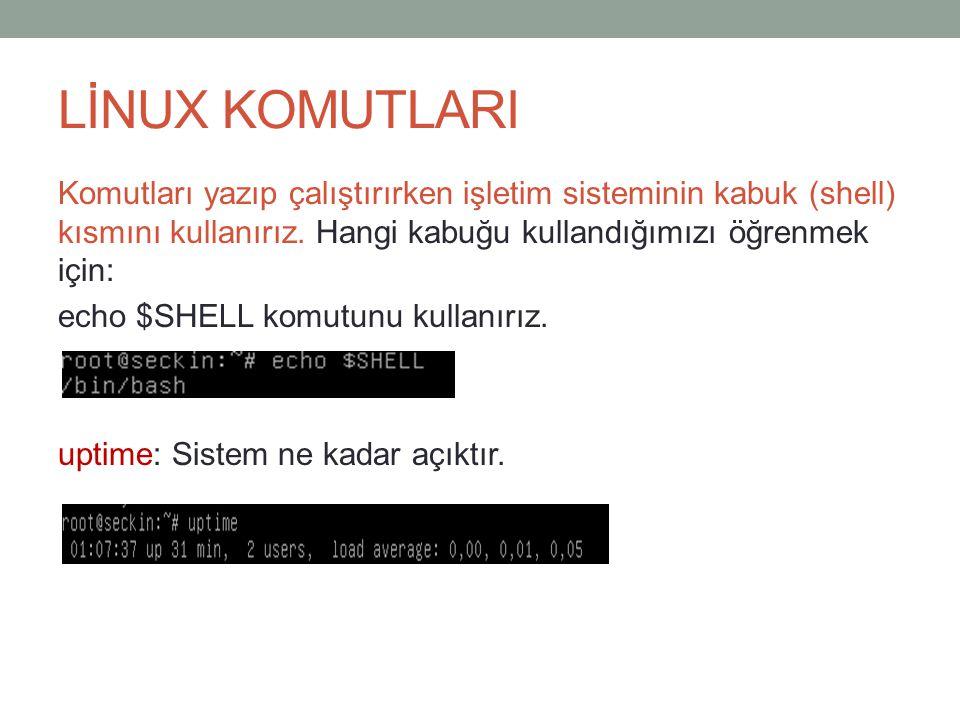 LİNUX KOMUTLARI Komutları yazıp çalıştırırken işletim sisteminin kabuk (shell) kısmını kullanırız.