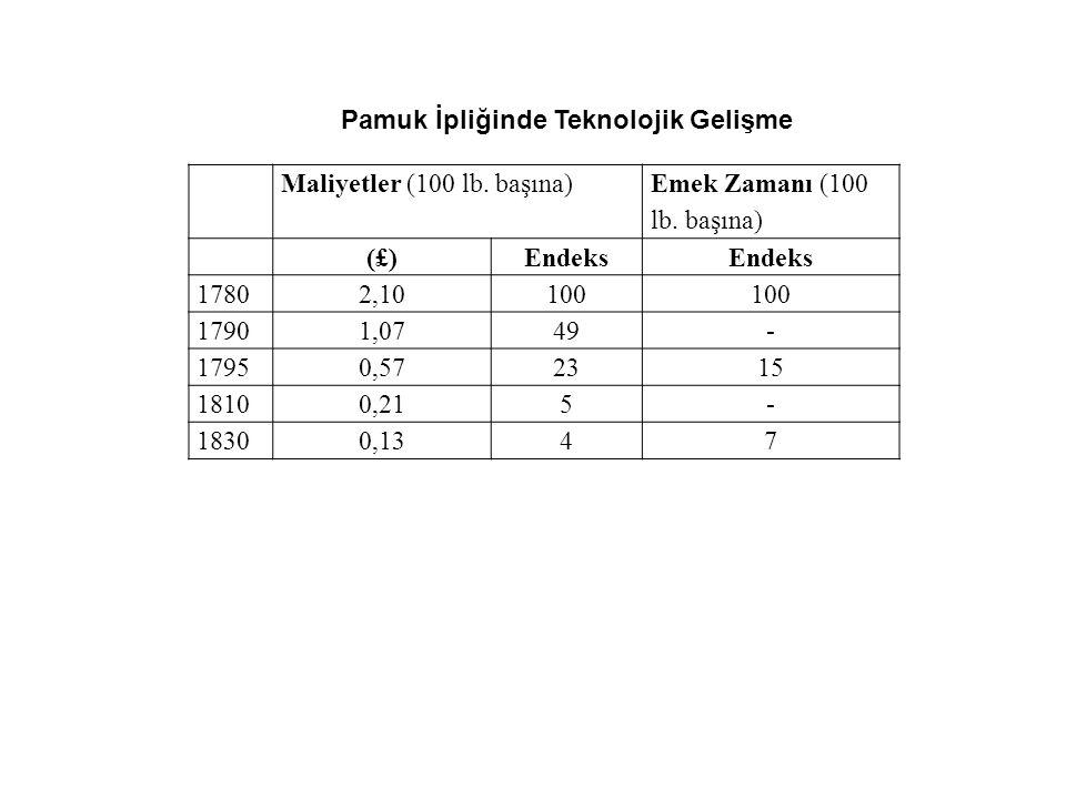 Maliyetler (100 lb. başına) Emek Zamanı (100 lb. başına) (£)Endeks 17802,10100 17901,0749- 17950,572315 18100,215- 18300,1347 Pamuk İpliğinde Teknoloj