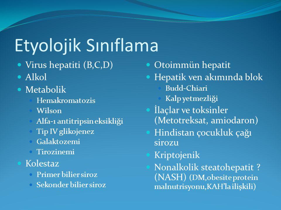 Etyolojik Sınıflama Virus hepatiti (B,C,D) Alkol Metabolik Hemakromatozis Wilson Alfa-1 antitripsin eksikliği Tip IV glikojenez Galaktozemi Tirozinemi