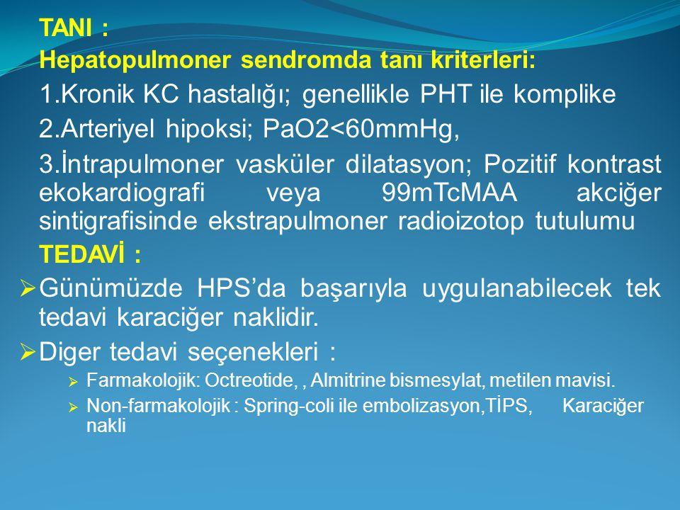 TANI : Hepatopulmoner sendromda tanı kriterleri: 1.Kronik KC hastalığı; genellikle PHT ile komplike 2.Arteriyel hipoksi; PaO2<60mmHg, 3.İntrapulmoner