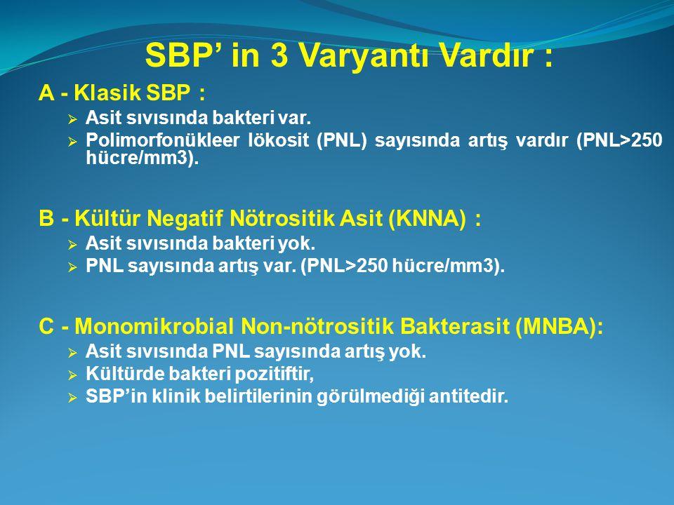 SBP' in 3 Varyantı Vardır : A - Klasik SBP :  Asit sıvısında bakteri var.  Polimorfonükleer lökosit (PNL) sayısında artış vardır (PNL>250 hücre/mm3)