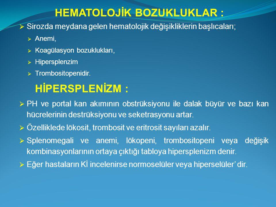 HEMATOLOJİK BOZUKLUKLAR :  Sirozda meydana gelen hematolojik değişikliklerin başlıcaları;  Anemi,  Koagülasyon bozuklukları,  Hipersplenzim  Trom