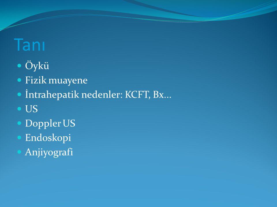 Öykü Fizik muayene İntrahepatik nedenler: KCFT, Bx... US Doppler US Endoskopi Anjiyografi