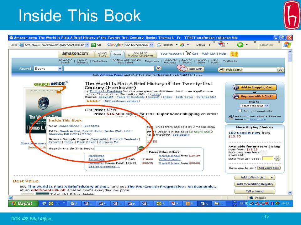 - 15 DOK 422 Bilgi Ağları Inside This Book
