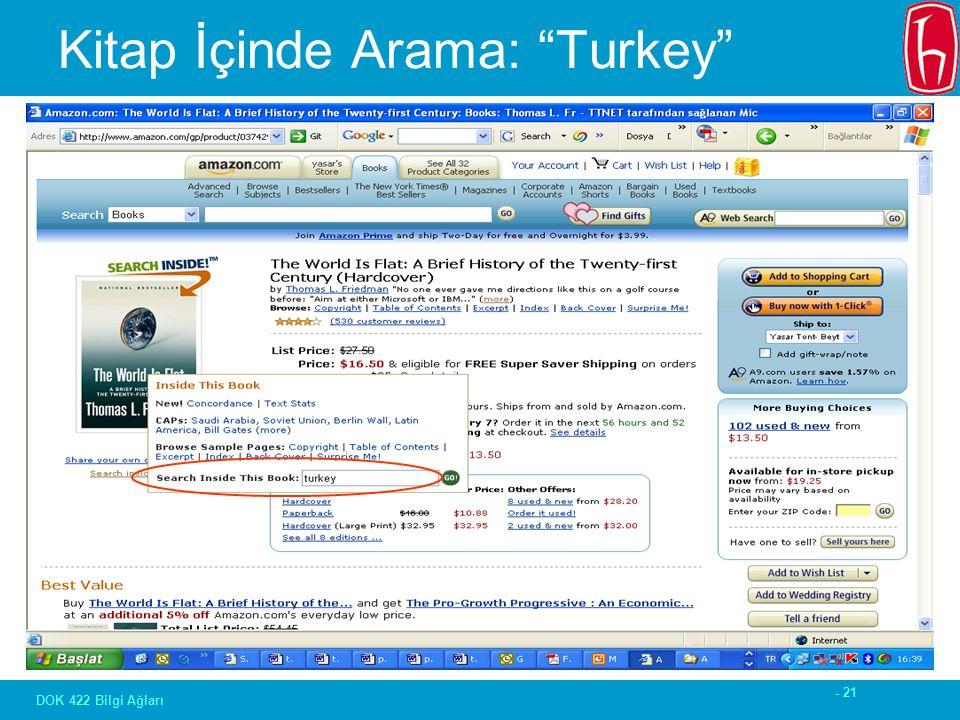 - 21 DOK 422 Bilgi Ağları Kitap İçinde Arama: Turkey