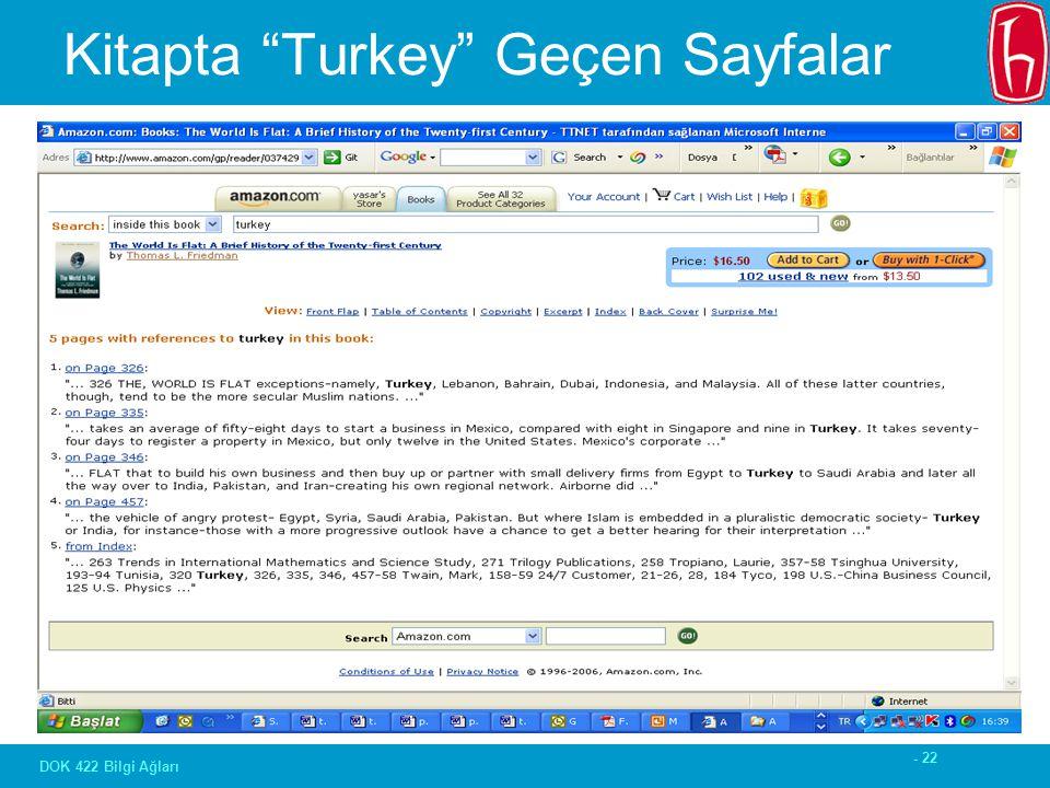 - 22 DOK 422 Bilgi Ağları Kitapta Turkey Geçen Sayfalar