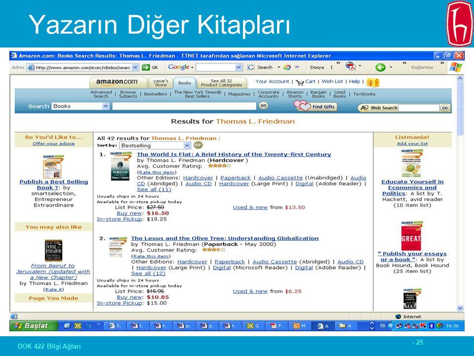 - 25 DOK 422 Bilgi Ağları Yazarın Diğer Kitapları