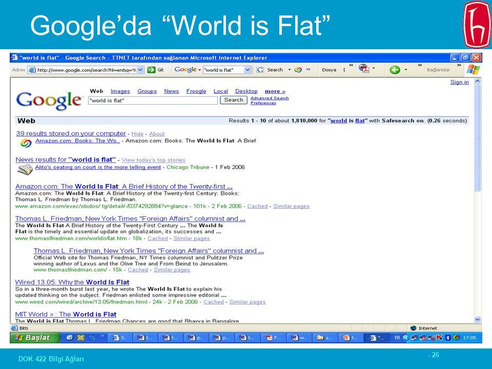 """- 26 DOK 422 Bilgi Ağları Google'da """"World is Flat"""""""
