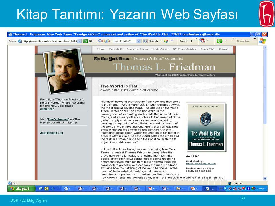 - 27 DOK 422 Bilgi Ağları Kitap Tanıtımı: Yazarın Web Sayfası