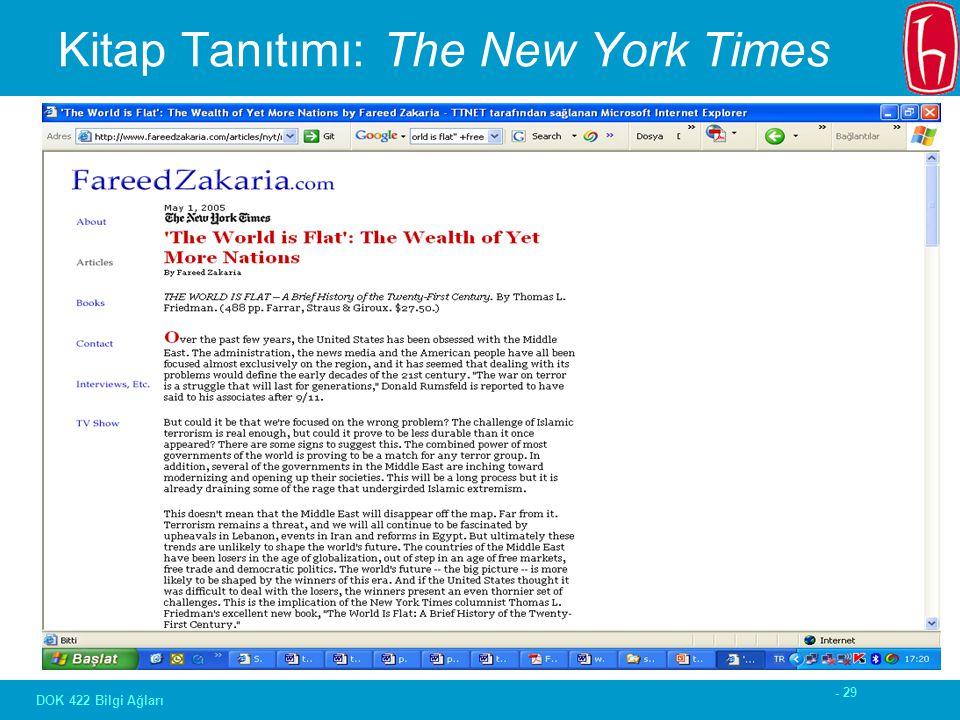 - 29 DOK 422 Bilgi Ağları Kitap Tanıtımı: The New York Times