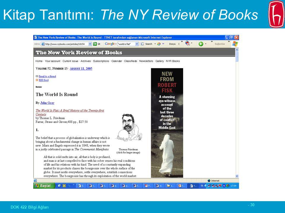 - 30 DOK 422 Bilgi Ağları Kitap Tanıtımı: The NY Review of Books
