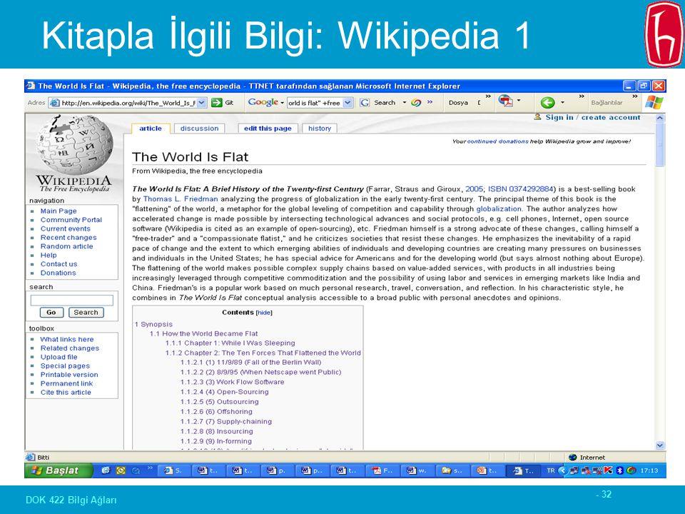 - 32 DOK 422 Bilgi Ağları Kitapla İlgili Bilgi: Wikipedia 1