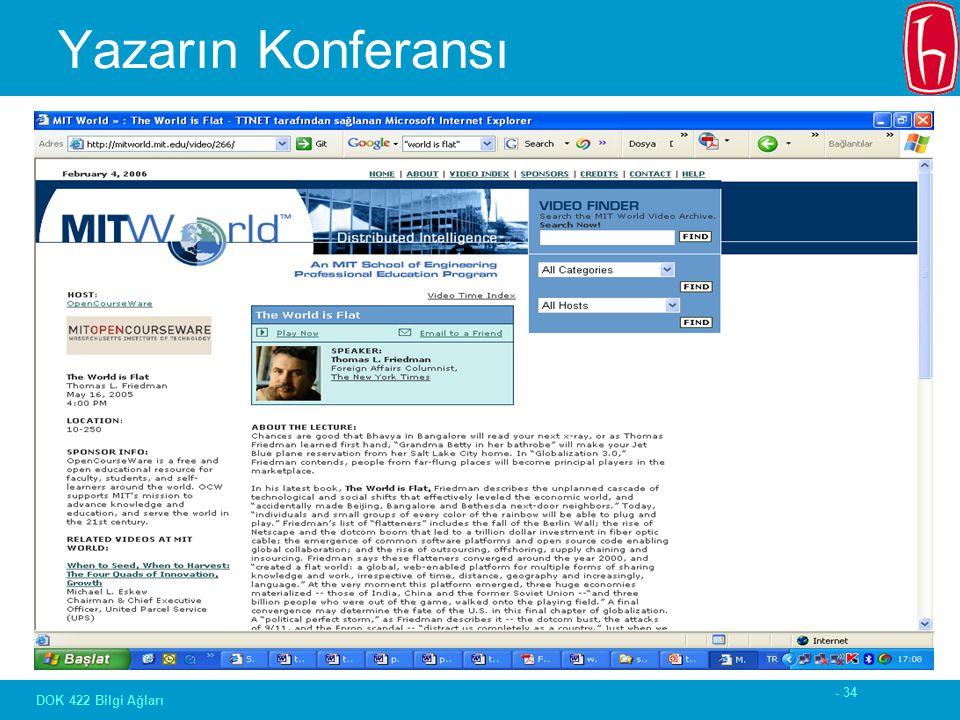 - 34 DOK 422 Bilgi Ağları Yazarın Konferansı