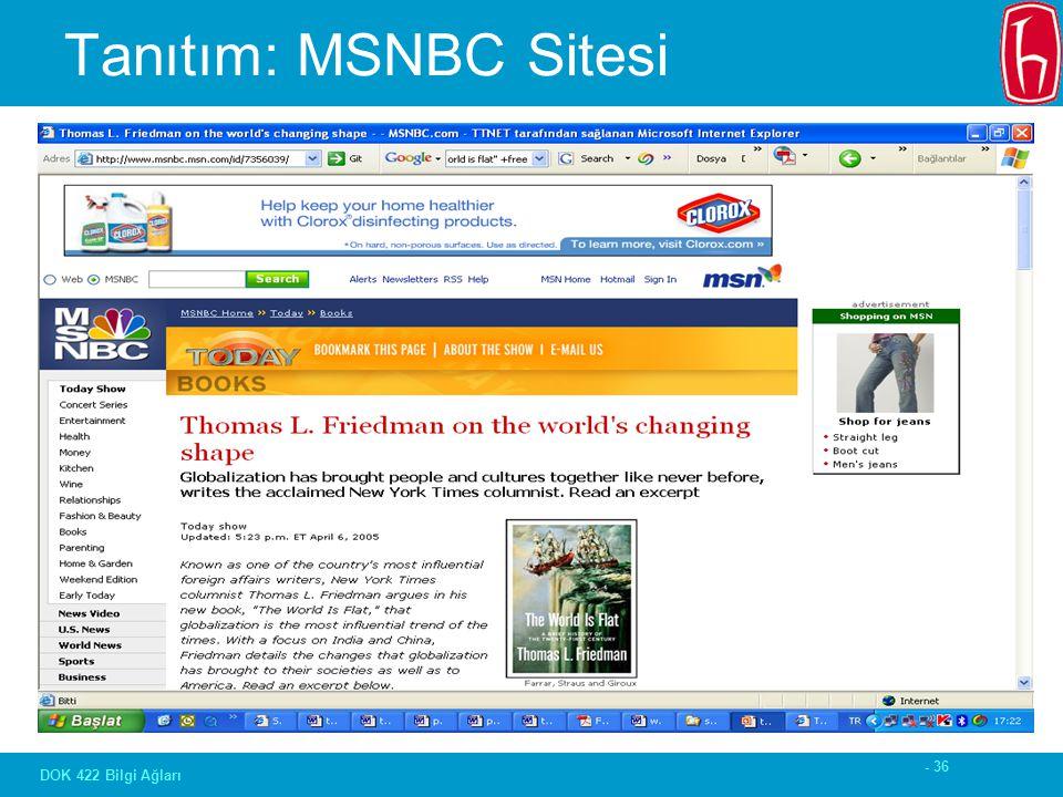 - 36 DOK 422 Bilgi Ağları Tanıtım: MSNBC Sitesi