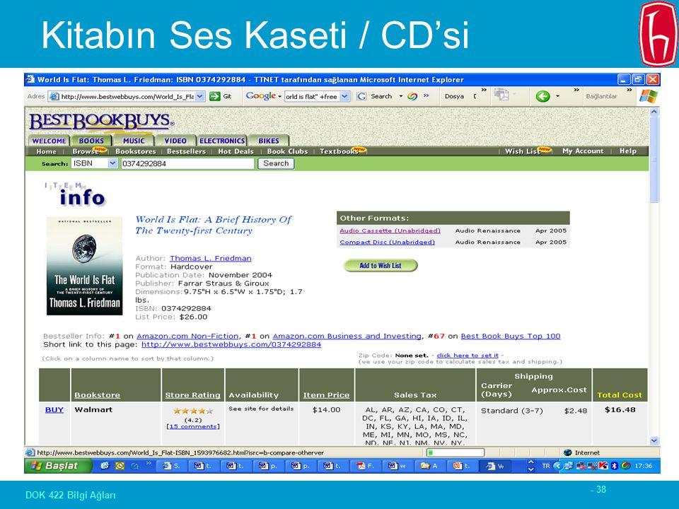 - 38 DOK 422 Bilgi Ağları Kitabın Ses Kaseti / CD'si