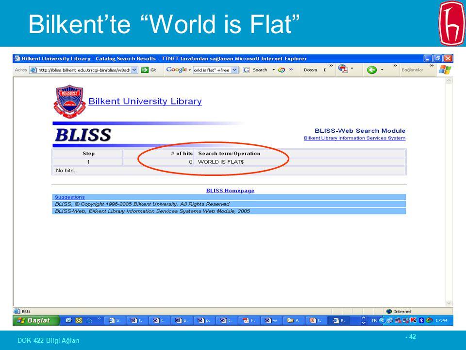 - 42 DOK 422 Bilgi Ağları Bilkent'te World is Flat