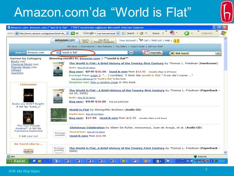 """- 5 DOK 422 Bilgi Ağları Amazon.com'da """"World is Flat"""""""