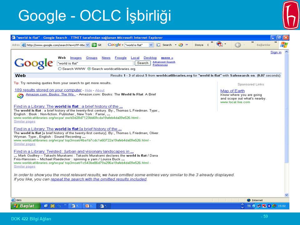 - 59 DOK 422 Bilgi Ağları Google - OCLC İşbirliği