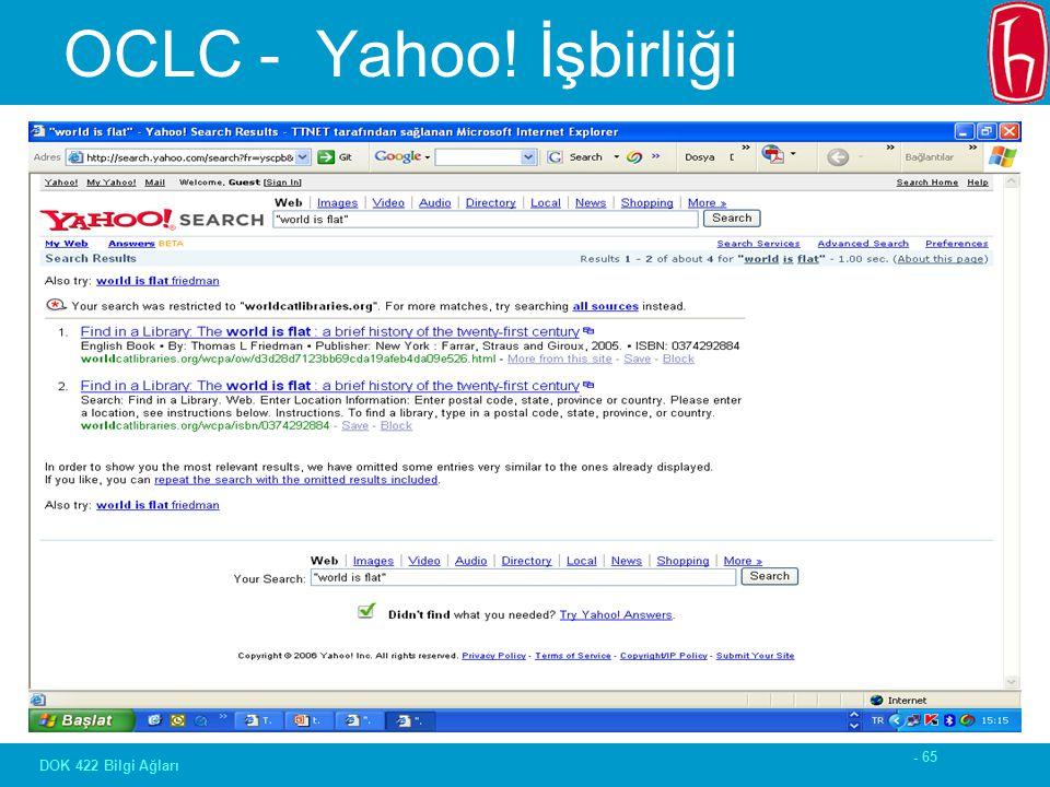 - 65 DOK 422 Bilgi Ağları OCLC - Yahoo! İşbirliği
