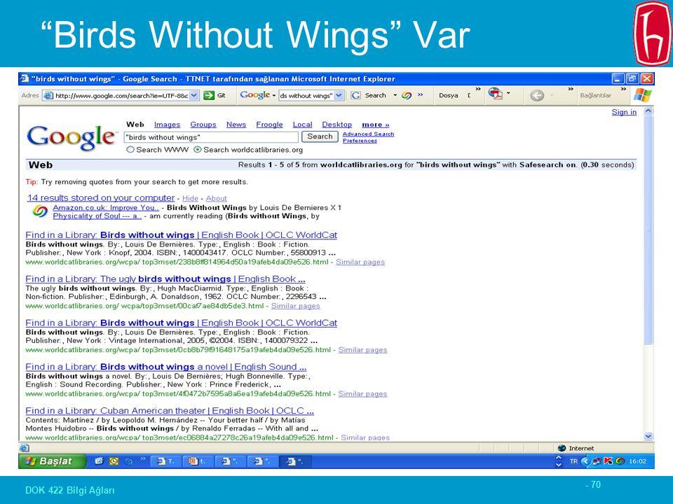 """- 70 DOK 422 Bilgi Ağları """"Birds Without Wings"""" Var"""