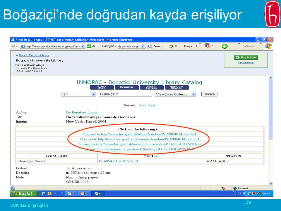 - 74 DOK 422 Bilgi Ağları Boğaziçi'nde doğrudan kayda erişiliyor