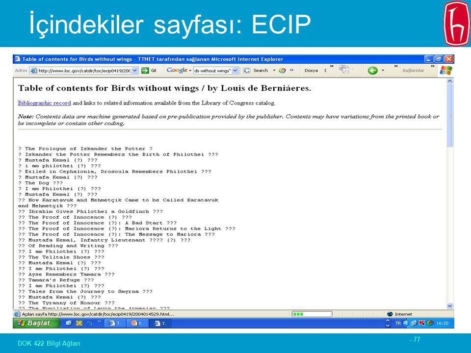 - 77 DOK 422 Bilgi Ağları İçindekiler sayfası: ECIP