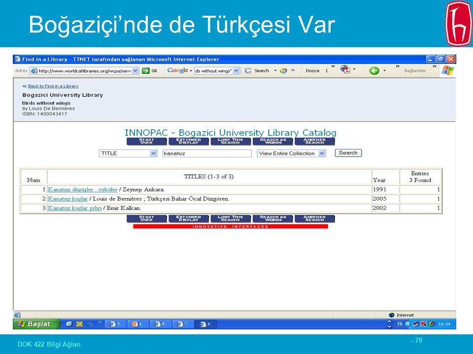- 78 DOK 422 Bilgi Ağları Boğaziçi'nde de Türkçesi Var