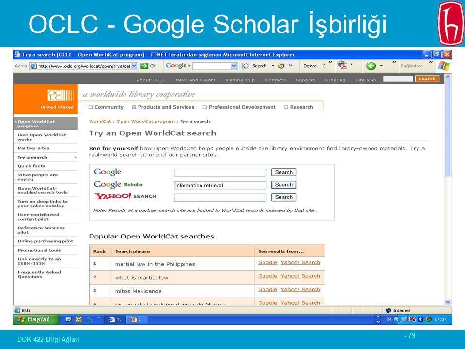 - 79 DOK 422 Bilgi Ağları OCLC - Google Scholar İşbirliği