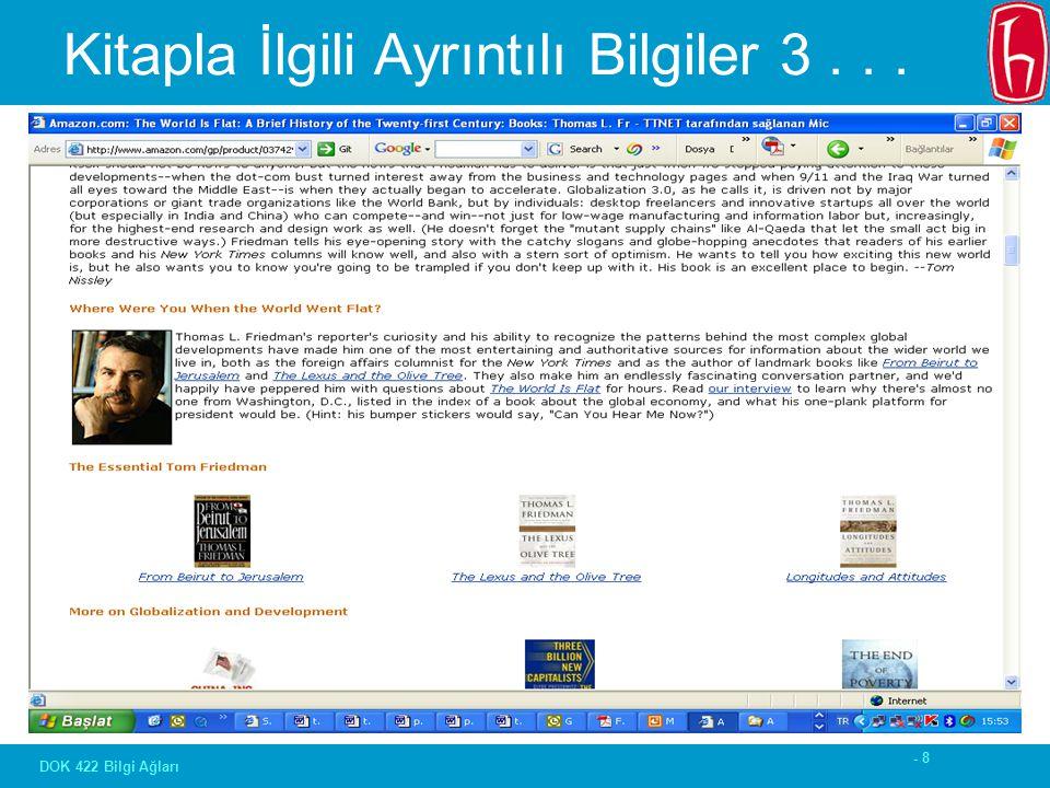 - 8 DOK 422 Bilgi Ağları Kitapla İlgili Ayrıntılı Bilgiler 3...