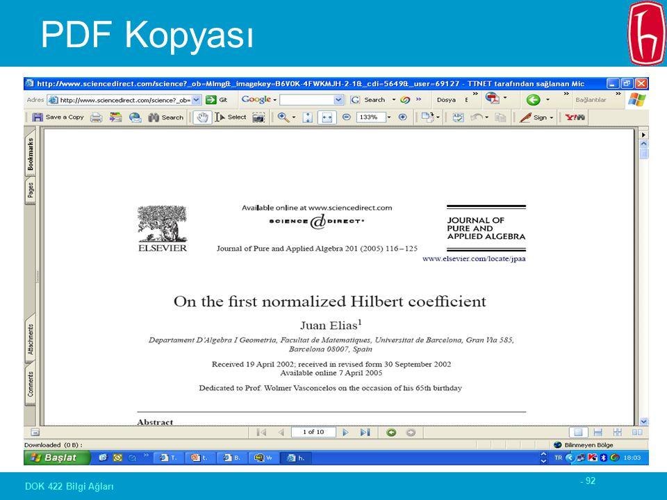 - 92 DOK 422 Bilgi Ağları PDF Kopyası