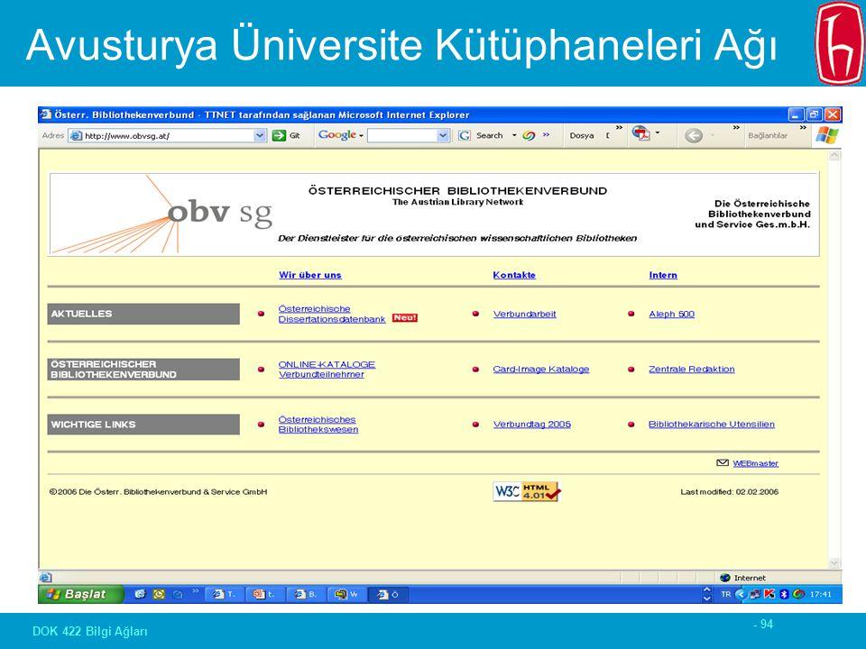 - 94 DOK 422 Bilgi Ağları Avusturya Üniversite Kütüphaneleri Ağı