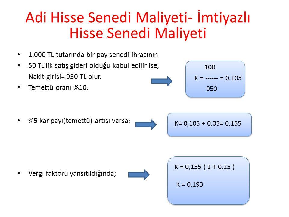 1.000 TL tutarında bir pay senedi ihracının 50 TL'lik satış gideri olduğu kabul edilir ise, Nakit girişi= 950 TL olur. Temettü oranı %10. %5 kar payı(