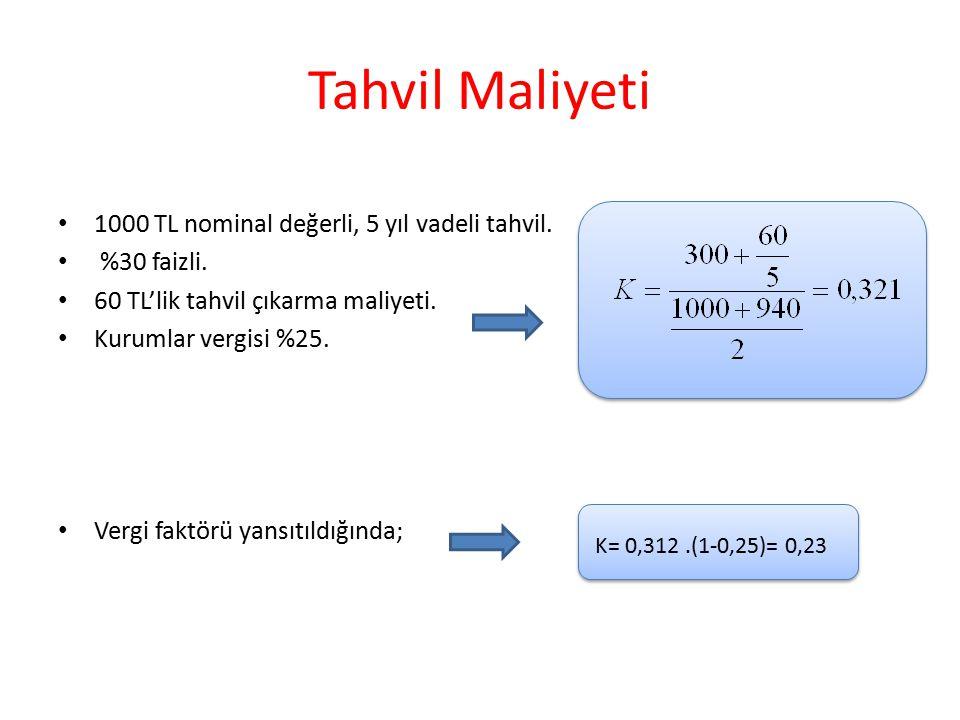 Tahvil Maliyeti 1000 TL nominal değerli, 5 yıl vadeli tahvil. %30 faizli. 60 TL'lik tahvil çıkarma maliyeti. Kurumlar vergisi %25. Vergi faktörü yansı