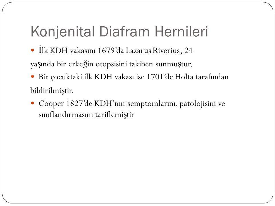 Konjenital Diafram Hernileri İ lk KDH vakasını 1679'da Lazarus Riverius, 24 ya ş ında bir erke ğ in otopsisini takiben sunmu ş tur.