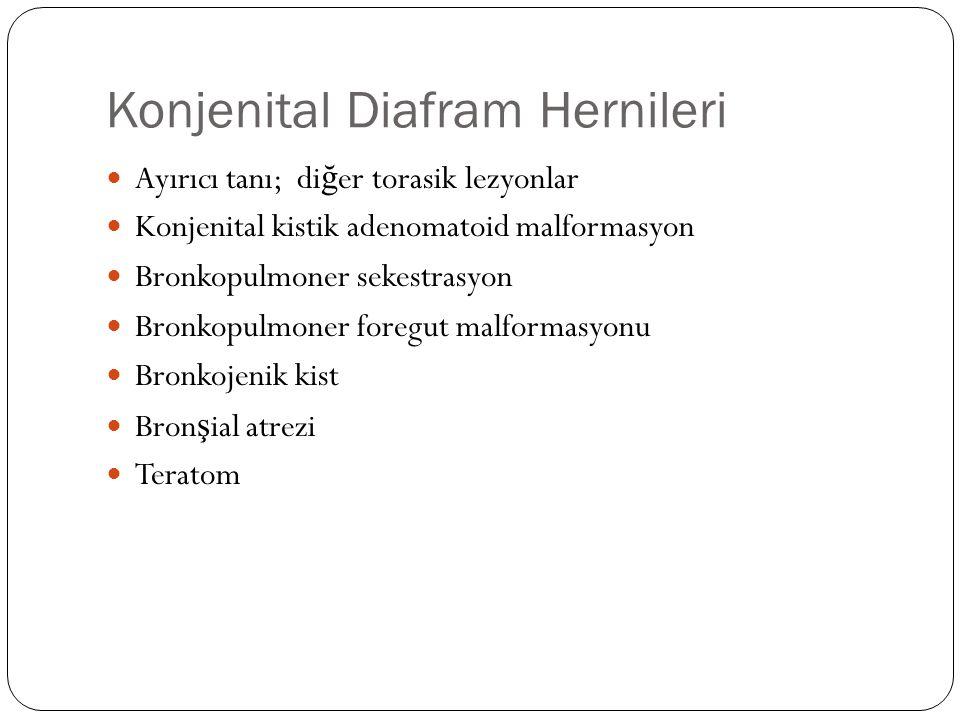 Konjenital Diafram Hernileri Ayırıcı tanı; di ğ er torasik lezyonlar Konjenital kistik adenomatoid malformasyon Bronkopulmoner sekestrasyon Bronkopulmoner foregut malformasyonu Bronkojenik kist Bron ş ial atrezi Teratom