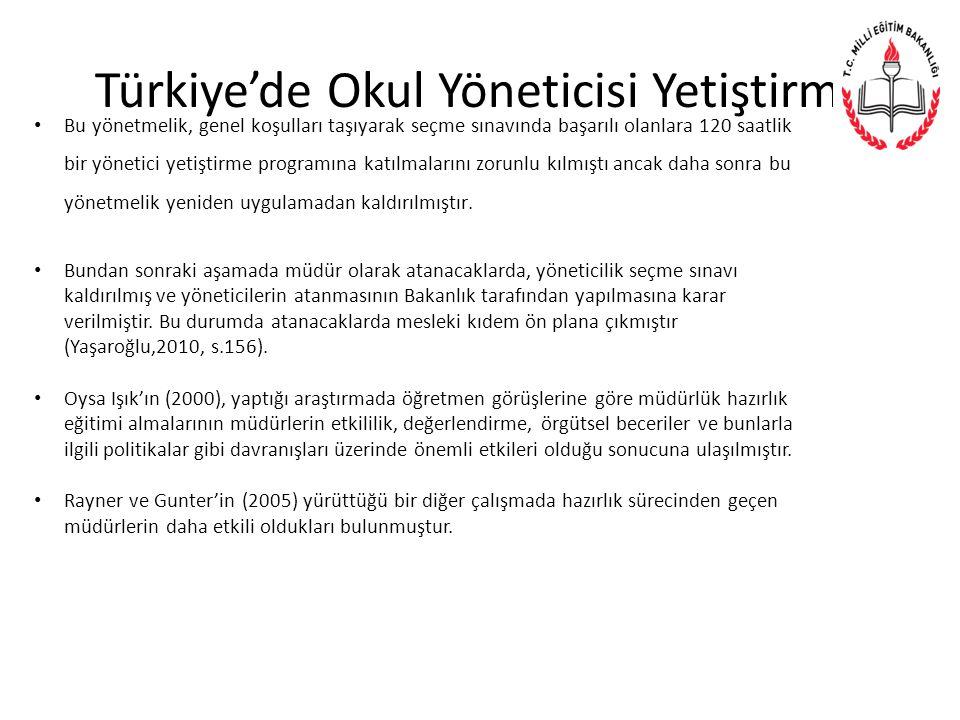 Türkiye'de Okul Yöneticisi Yetiştirme Bu yönetmelik, genel koşulları taşıyarak seçme sınavında başarılı olanlara 120 saatlik bir yönetici yetiştirme programına katılmalarını zorunlu kılmıştı ancak daha sonra bu yönetmelik yeniden uygulamadan kaldırılmıştır.
