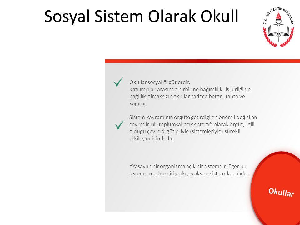 Sosyal Sistem Olarak Okullar… Okullar sosyal örgütlerdir.