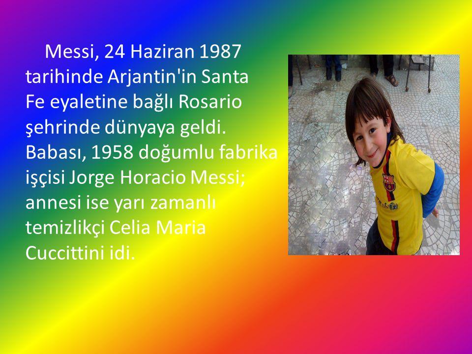 Messi, 24 Haziran 1987 tarihinde Arjantin'in Santa Fe eyaletine bağlı Rosario şehrinde dünyaya geldi. Babası, 1958 doğumlu fabrika işçisi Jorge Horaci