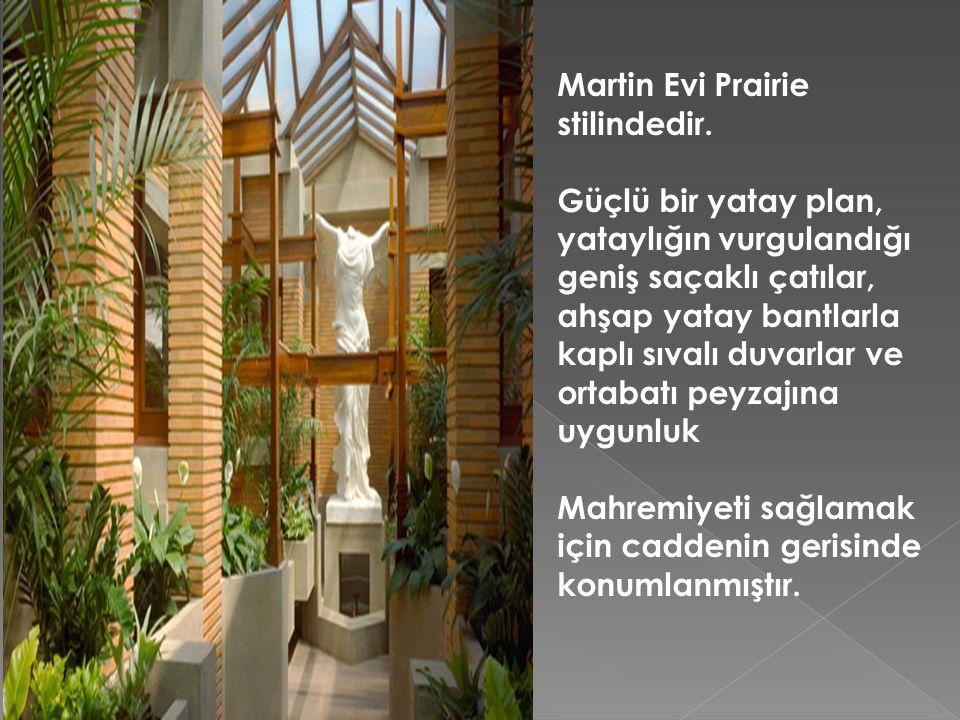 Martin Evi Prairie stilindedir. Güçlü bir yatay plan, yataylığın vurgulandığı geniş saçaklı çatılar, ahşap yatay bantlarla kaplı sıvalı duvarlar ve or
