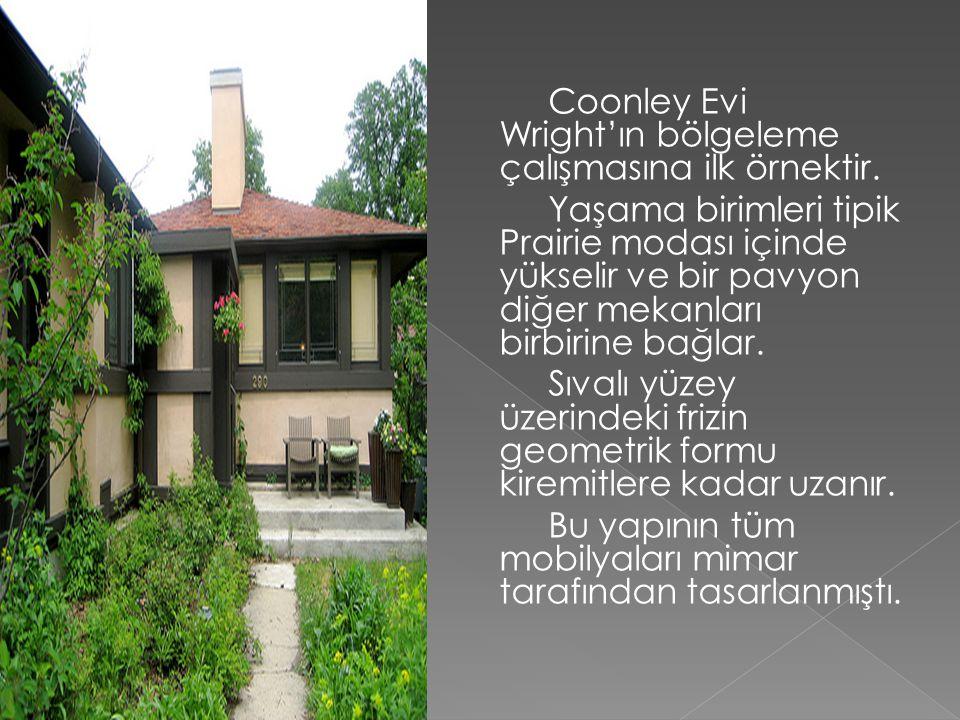 Coonley Evi Wright'ın bölgeleme çalışmasına ilk örnektir. Yaşama birimleri tipik Prairie modası içinde yükselir ve bir pavyon diğer mekanları birbirin
