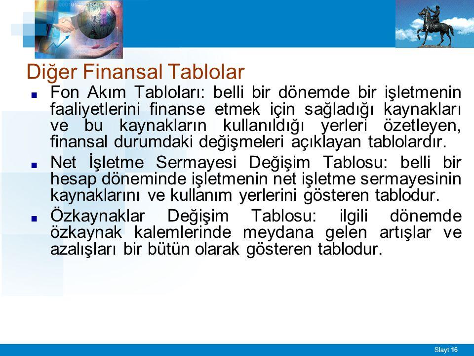Slayt 16 Diğer Finansal Tablolar ■ Fon Akım Tabloları: belli bir dönemde bir işletmenin faaliyetlerini finanse etmek için sağladığı kaynakları ve bu k